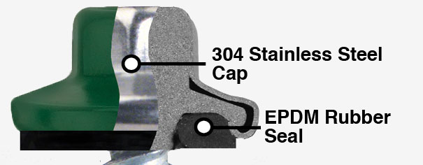 ST-XL has a 304 SS Cap on the head and washer. It will never red rust. Cupped head design provides low profile appearance.